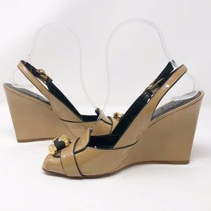 TORY BURCH Patent Leather Slingback Wedges EUC- 8